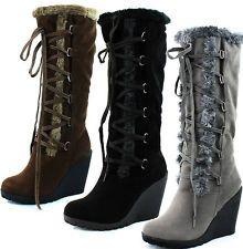 Faux Fur Winter Boots Women   ... HIGH ZIP UP FAUX FUR TRIM WEDGE ...