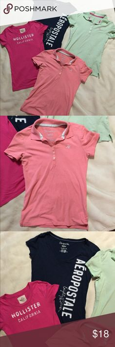 Hollister & Aeropostale Polo & T-shirts Hot pink Hollister t-shirt, size small. Navy blue Aeropostale t-shirt and light pink and mint green Aeropostale Polos-all size medium. Aeropostale Tops Tees - Short Sleeve
