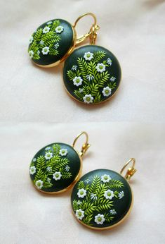 Spring Summer Green earrings by Lena Handmade Jewelry Embroidery Applique Gift for Her Mother Daughter Jewelry May
