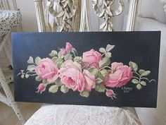 GORGEOUS-Christie-REPASY-Canvas-Print-PINK-ROSES-Lying-Down-BLACK-BACKGROUND