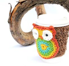 Owl  Slip On Coffee Mug Cup Travel Mug Crochet by CageFreeFibers, $10.00