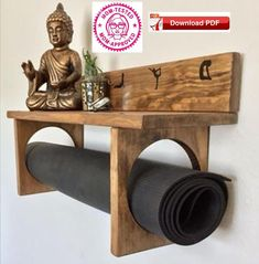 YogaWares makes specialty yoga mat holders for you or your favorite yogi. Made entirely of real wood, hand stained and decorated with white vinyl. A large full size shelf at the top to place your meditation or decorative items and custom Meditation Raumdekor, Meditation Room Decor, Yoga Room Decor, Meditation Quotes, Decor Room, Room Decorations, Diy Home Decor, Gym Decor, Handmade Home Decor