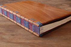 custom Anniversary photo album unique wood by ThreeTreesBindery