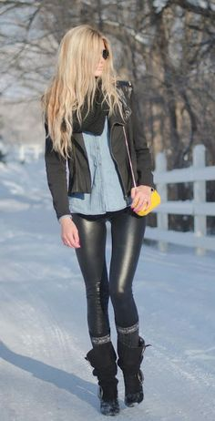 winter - leather leggins + denim jacket - add a sweater to be warmer