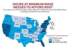MAP: Hours at minimum wage needed to afford rent.