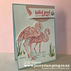 Stampin' Up! Fabulous Flamingo by Ella Warren Hampton Art, Bee Cards, Flamingo Bird, Ocean Themes, Animal Cards, Funny Cards, Hero Arts, Stamping Up, Cool Cards