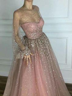 Sparkly Prom Dresses Scoop A line Floor-length Long Chic Prom Dress JKL980