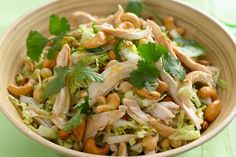 Toss this salad together for your next potluck or summer barbecue. Fresh napa cabbage tossed together with rotisserie chicken, cilantro, chickpeas and green onions makes a simple, flavour-packed salad recipe. Salad Recipes For Dinner, Vegetable Recipes, Diet Recipes, Cooking Recipes, Healthy Recipes, What's Cooking, Cashew Chicken, Chicken Chickpea, Asian Recipes