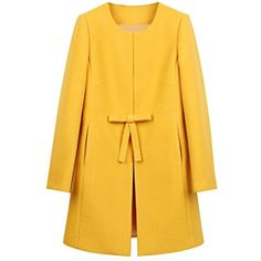Shop Yellow Bowknot Front H-line Simple Wool Blend Coat online. SheIn offers Yellow Bowknot Front H-line Simple Wool Blend Coat & more to fit your fashionable needs. Look Fashion, Winter Fashion, Womens Fashion, Fashion Coat, Street Fashion, Fashion Spring, Ladies Fashion, Diy Fashion, Fashion Beauty