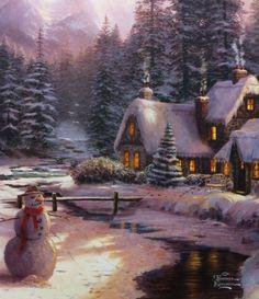 Thomas Kinkade Holiday at Winter's Glen canvas wrap Thomas Kinkade Art, Thomas Kinkade Christmas, Christmas Scenes, Christmas Art, Winter Christmas, Winter Pictures, Christmas Pictures, Kinkade Paintings, Thomas Kincaid
