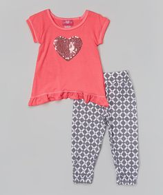 Look at this #zulilyfind! Fuchsia Sequin Heart Tee & Geo Leggings - Infant & Toddler #zulilyfinds