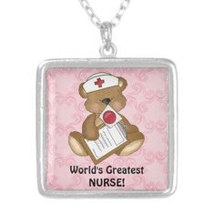 Worlds Greatest Nurse silver plated necklace