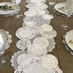 Create a table runner out of paper doilies for a vintage-inspired vibe.