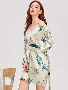 61a17266b3 Womens Robes · Shein Botanical Print Self Belted Satin Robe   Print Botanical Shein