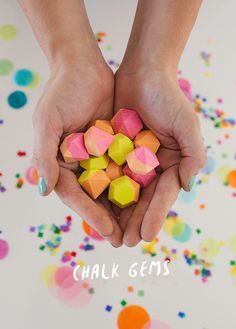There's no kid (big or little) who doesn't love sidewalk chalk. We made these mini neon chalk gems which are great for little hands and SO fun to play with. They'd also make for super fun party favors