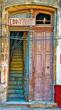A in Havana, Cuba, weathered and scarred from use. Cool Doors, Unique Doors, Door Knockers, Door Knobs, When One Door Closes, Door Gate, Door Opener, Closed Doors, Doorway