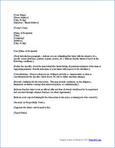 Free Letter of Intent Template | Sample Letters of Intent