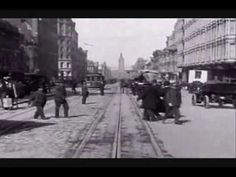 """San Francisco, 1906. VIDEO     Turn up the volume and travel back in time!  This film was """"lost"""" for many years.  It was the first 35mm film ever. It was taken by camera mounted on the front of a cable car.  The number of automobiles is staggering for 1906. Notice that all the cars apparently have their steering wheels on the right side. The clock towe..."""