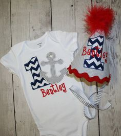 Anchor Birthday shirt and Hat- Navy Chevron--Cake Smash-- First Birthday Outfit- Personalized Birthday Hat-Photo Prop-Under the Sea Birthday