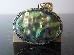 SPRING SALE Vintage Silver Onyx and Abalone by FourSailAccessories, $54.00