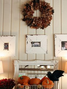 Chippy, barnwood frames and a wreath made of red and rust-colored leaves add up to one fantastic fall-inspired wall display by blogger Melaine Thompson.