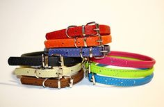 Rolled Round Leather Collar Soft Padded Genuine Leather 9 Colors Small Dog Puppy