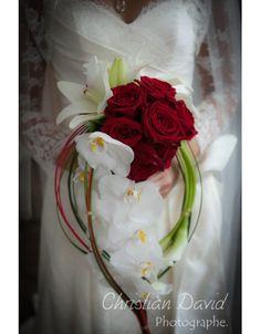 Bouquet de mariée rouge et blanc