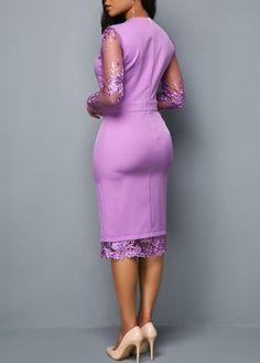 Long Sleeve Zipper Back Mesh Panel Dress Trendy Dresses, Elegant Dresses, Sexy Dresses, Casual Dresses, African Attire, African Fashion Dresses, African Dress, Skirt Fashion, Fashion Outfits