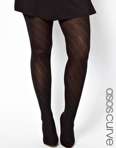 Image 1 of ASOS CURVE Diagonal Opaque Tights