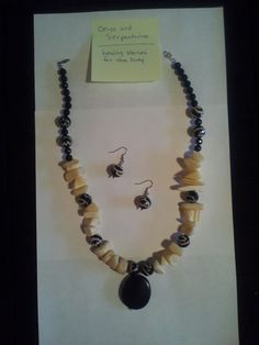 Genuine Onyx and Yellow Serpentine with Black Pendant. A Classic Piece.