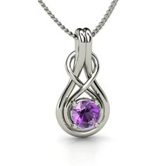 Round Amethyst Sterling Silver Necklace | Infinity Knot Pendant