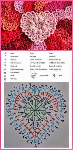 Crochet y Dos agujas: Aplique con forma de corazón al crochet:                                                                                                                                                     Más