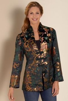Moon Dynasty Jacket - Floral Jacquard Jacket, Woven Jacquard Jacket | Soft Surroundings
