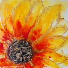 abstract yellow flower art - Google Search