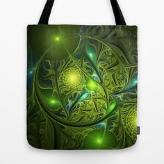 Mysterious Green Lights, abstract Fractal Art Tote Bag by gabiw Art | Society6 - printed Tote Bag with the Design on both Sides.