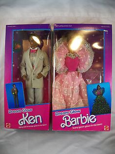 Dream Glow Black Barbie #2422 NRFB & Dream Glow Ken #2421 Mint Dolls! Vintage