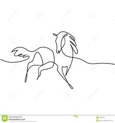 Continuous one line drawing. black and white vector illustration. concept for logo, card, banner, poster, flyer Horse Drawings, Animal Drawings, Abstract Drawings, Easy Drawings, Line Drawing Images, Horse Outline, Continuous Line Tattoo, Family Tree Print, Horse Illustration