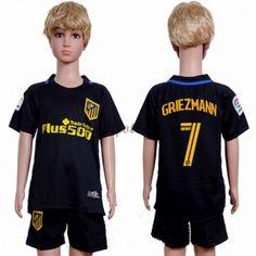 Billiga Fotbollströjor Kits Atletico Madrid Barn 2016-17 Griezmann 7 Kortärmad Borta Fotbollsdräkter