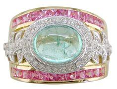 18KT Mozambique Paraiba Tourmaline, Pink Sapphire & Diamond Cigar Band -  The Judy Mayfield Collection