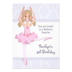 $2.05 Ballerina Birthday Party Announcements