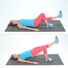 Pin for Later: Your Body's Best: Essential Equipment-Free Exercises Lower Body: Single-Leg Bridge Lift Best Leg Workout, Butt Workout, Easy Workouts, At Home Workouts, Single Leg Glute Bridge, Fit Girl Motivation, Step Up, Knee Pain, Legs
