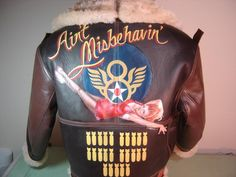 B-3 jacket, based off a B-17 that flew in the 390th bomb group, 570th bomb squadron. Painted by Jerome Urbaniak