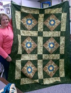 Cactus Flower Table Runner, Quiltworx.com, Taught by CI Kristen Bender Flower Table, Crown Of Thorns, Foundation Paper Piecing, Cactus Flower, Table Runners, Quilt Patterns, Quilts, Blanket, Inspiration