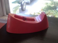 Vintage Scotch cello Tape Dispenser Mid Century Coral $22