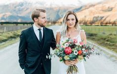 Bride, groom and beautiful bouquet