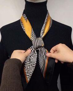 Ways To Tie Scarves, Ways To Wear A Scarf, How To Wear Scarves, Scarf Wearing Styles, Scarf Styles, Scarf Knots, Diy Scarf, Look Camisa Jeans, Diy Fashion Hacks