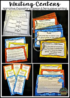 Set up easy Writing Centers in your classroom! There are 72 task cards, graphic organizers, writing checklists, keywords and phrases and more! The topics include Opinion & Persuasive, Informative & Explanatory and Narrative writing prompts.