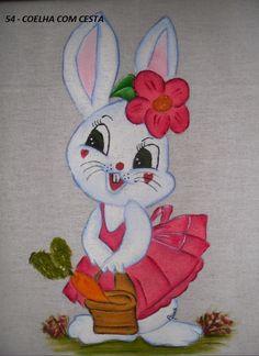 Aline - Pintura em Tecido: Coelha com Cesta !
