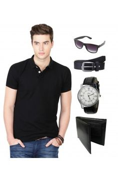 Combo for Men Black Polo T shirt With Classic Belt Watch Sunglass and Wallet #mensfashion #mensaccessories #polotshirts #mentshirts #onlinemenaccessories