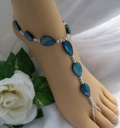 Barefoot Sandals  Foot Jewelry Slave Anklet Teal by JewelryByAngel, $34.00